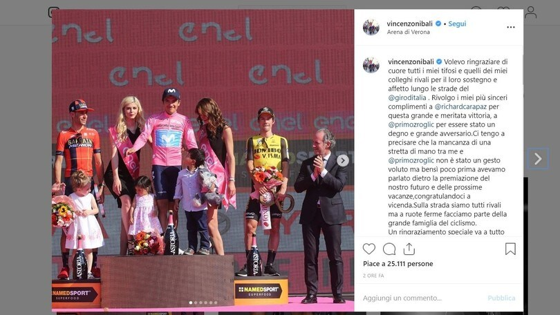 """Nibali: """"Bravo Carapaz. Roglic? Nessuna polemica"""""""