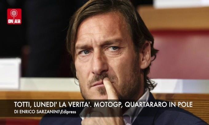 On Air: Totti, lunedì la verità. Gp Spagna, Quartararo in pole