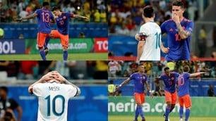 Il balletto James-Mina, la tristezza di Messi: le due facce di Argentina-Colombia