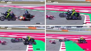 Motogp, clamoroso incidente in Spagna: coinvolti anche Rossi e Dovizioso