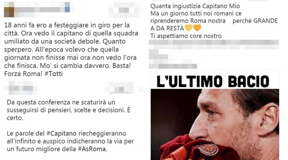 <p>L'annuncio dell'ex capitano ha sconvolto i tanti tifosi giallorossi che si sono sfogati sul web</p>