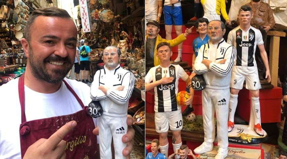 <p>L'arrivo del tecnico nel club bianconero delude i tifosi napoletani e il noto artigianoGenny Di Virgilio si ispira a Giuda nella realizzazione della nuova statuetta</p>