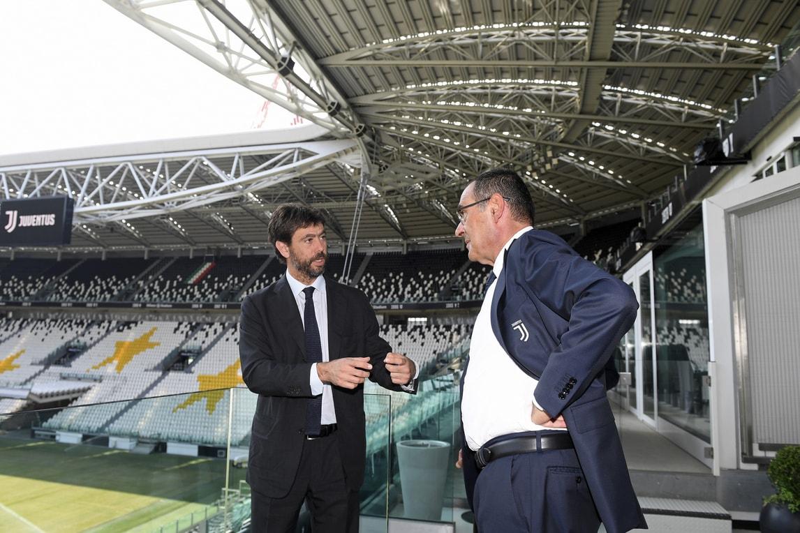 Juve, Agnelli e Sarri a colloquio all'interno dello Stadium