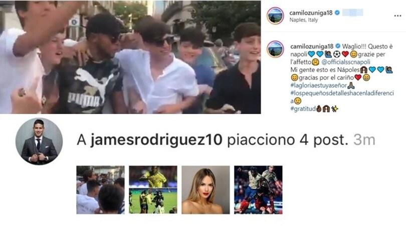 Zuniga a Napoli coi tifosi: James Rodriguez mette il like