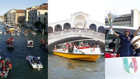 Reyer Venezia, la festa scudetto in barca