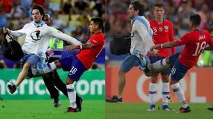 Coppa America, invasore in campo: Jara lo stende con un calcio