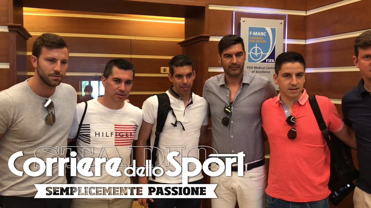 Roma, Fonseca e lo staff a Villa Stuart per le visite mediche