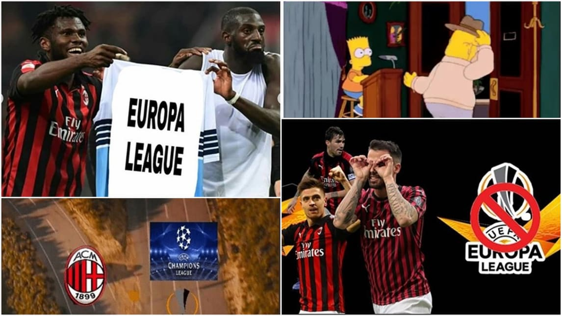 Milan escluso dall'Europa League: tutte le ironie sui social