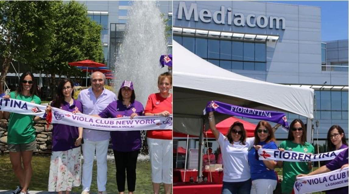 <p>La sede di Mediacom, azienda di cui l'imprenditore e' proprietario, è diventata teatro di una piccola festaallestitacon bandiere e sciarpe della Fiorentina</p>