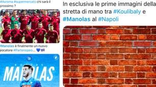"""Manolas-Napoli sui social, tifosi azzurri scatenati: """"Che coppia con Koulibaly"""""""