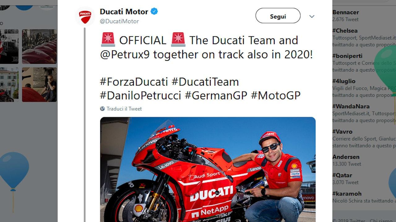 Ducati, Petrucci rinnova: avanti anche nel 2020
