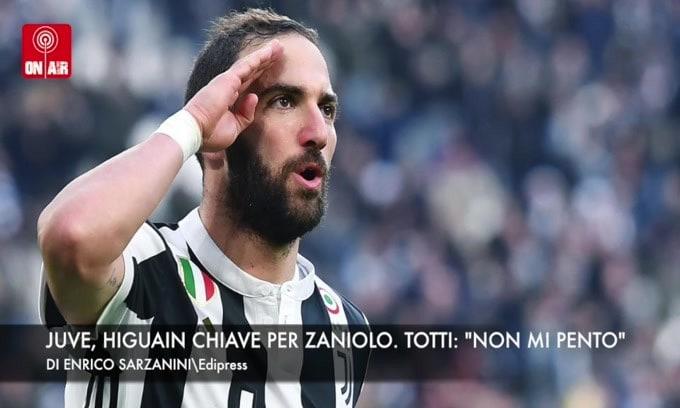 """Juve, Higuain chiave per Zaniolo. Totti: """"Non mi pento"""""""
