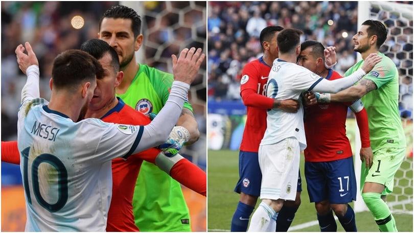 Messi e Medel, è rissa: testa a testa ed espulsione per tutti e due