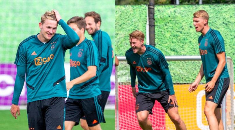 Juventus, De Ligt sorridente all'allenamento dell'Ajax