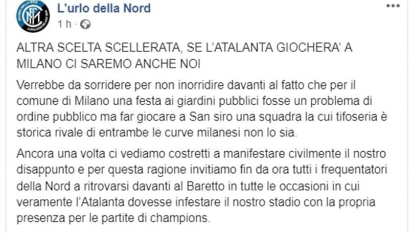 Champions, Atalanta a San Siro. La Curva Nord dell'Inter dice no: