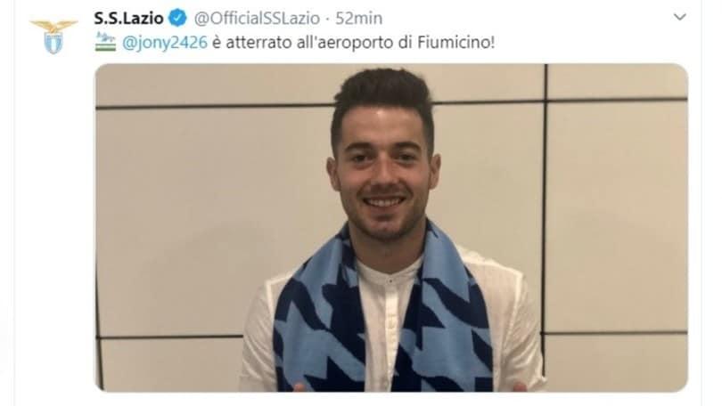 Lazio, Jony Rodriguez sbarca a Fiumicino