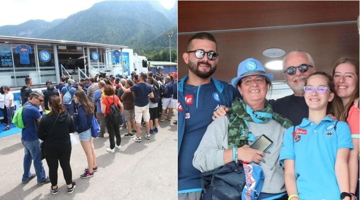 <p>Il presidente del club azzurro, accolto con molto entusiasmo, ha scattato varie fotocon i sostenitori giunti in Trenito per seguire il ritiro della squadra</p>