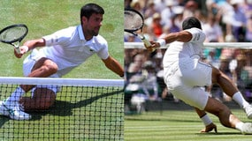 Djokovic, caduta 'comica' a Wimbledon