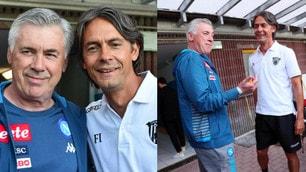 Ancelotti e Pippo Inzaghi, sorrisi e abbracci prima dell'amichevole