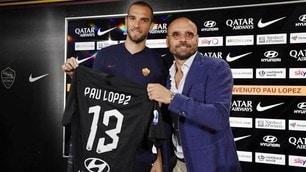 Roma, Pau Lopez si presenta con la maglia numero 13