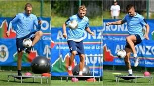 Lazio: Immobile-Milinkovic-Leiva, è show di palleggi sul trampolino elastico