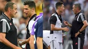 Juve, Cristiano Ronaldo da Sarri dopo la sostituzione