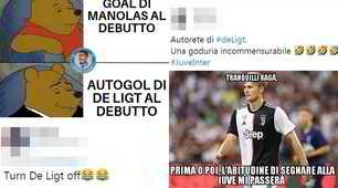 Juve-Inter, De Ligt fa autogol e i social si scatenano