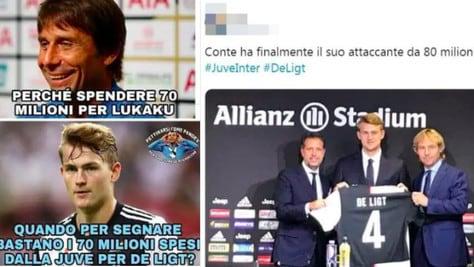 Juve-Inter, le ironie social dei tifosi per l'autogol di De Ligt