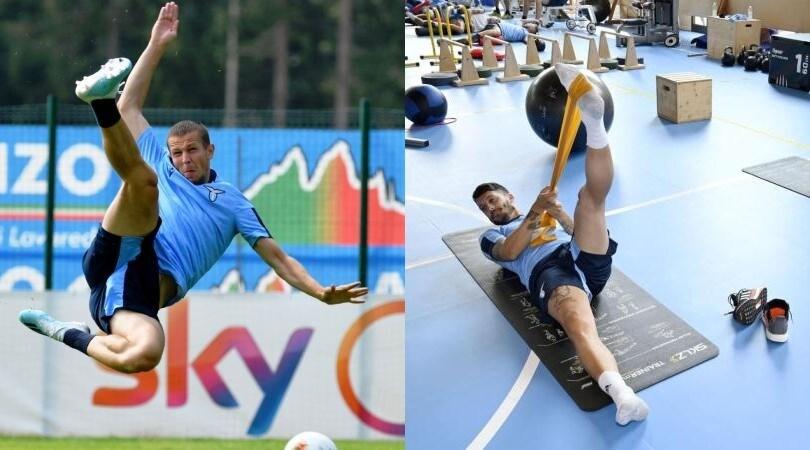 Lazio, acrobazie e palestra nel ritiro di Auronzo