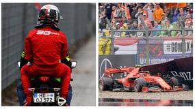 Gp di Germania: Leclerc finisce a muro e torna ai box in motorino