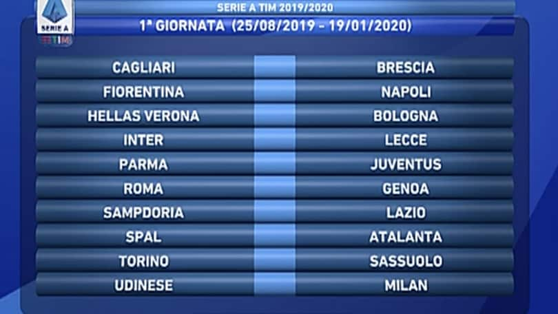 Serie A Tim Calendario.Calendario Serie A 2019 20 Tutte Le 38 Giornate Corriere
