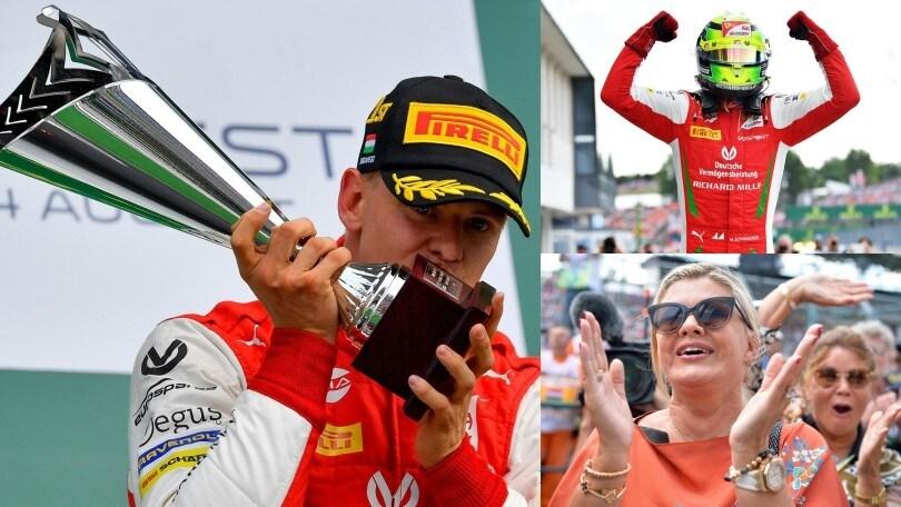 Mick Schumacher, primo storico trionfo in Formula 2 sotto gli occhi della madre