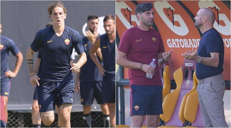 La Roma si allena: Petrachi-Fonseca, fitto colloquio