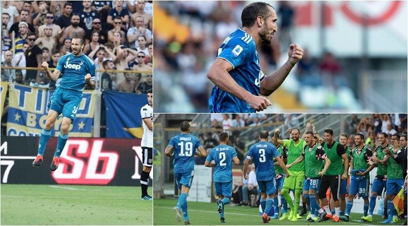 Chiellini, gol vittoria e dedica alla figlia. La Juve batte il Parma 1-0