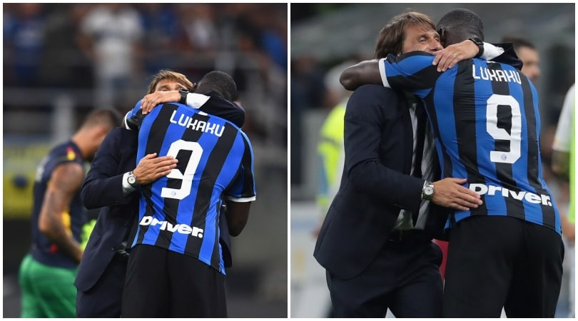 Inter- Lecce, the embrace between Conte and Lukaku