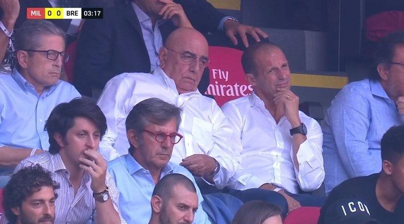 Allegri e Galliani in tribuna per Milan-Brescia