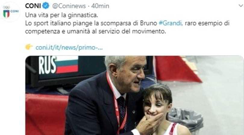 Ginnastica in lutto, è morto Bruno Grandi