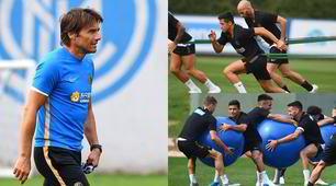 Conte, l'Inter in campo con mega palloni ed elastici