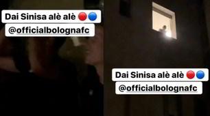 Il Bologna va a esultare in ospedale:Mihajlovic saluta dalla finestra