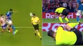 Atletico Madrid-Juve,l'arbitro colpito da una pallonata: gioco interrotto