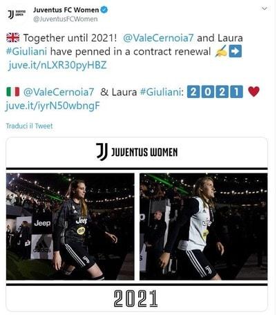 Giuliani e Cernoia prolungano fino al 2021 con la Juventus Women