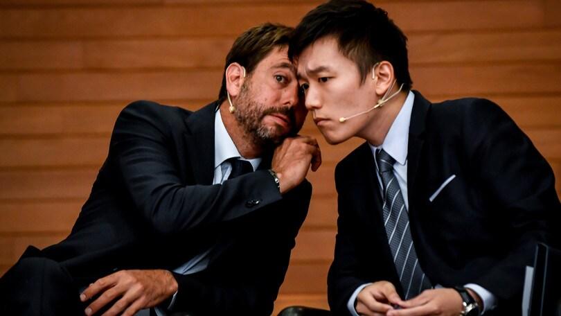 Agnelli e Zhang a Casa Milan per discutere della Lega Serie A