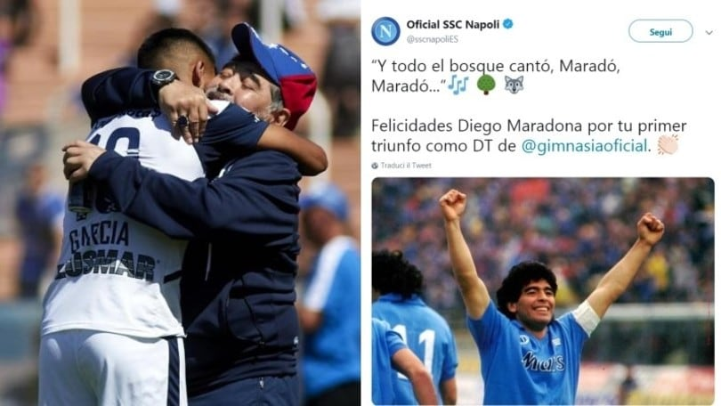 Prima vittoria per Maradona e arrivano i complimenti dal Napoli