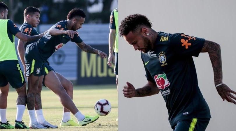 Neymar si allena in vista della gara numero 100 con il Brasile
