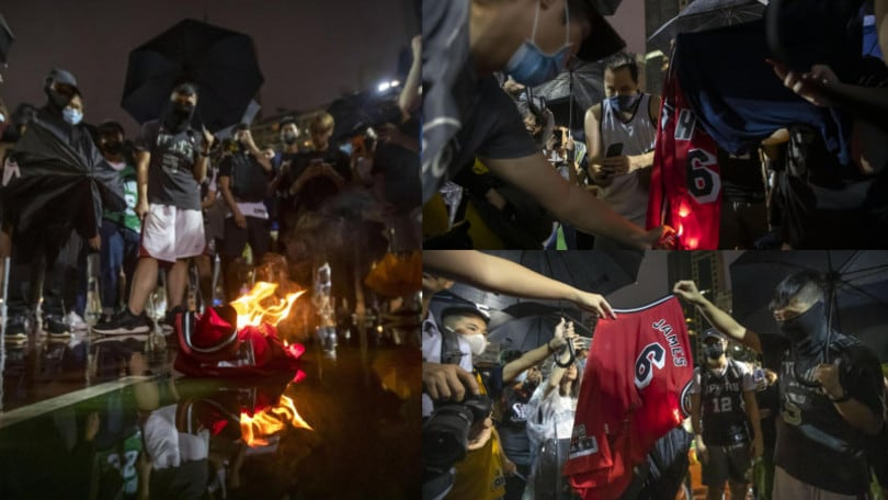 Hong Kong, bruciate le maglie di LeBron James in piazza