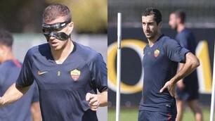 Dzeko ancora a lavoro con la maschera, Mkhitaryan in ripresa