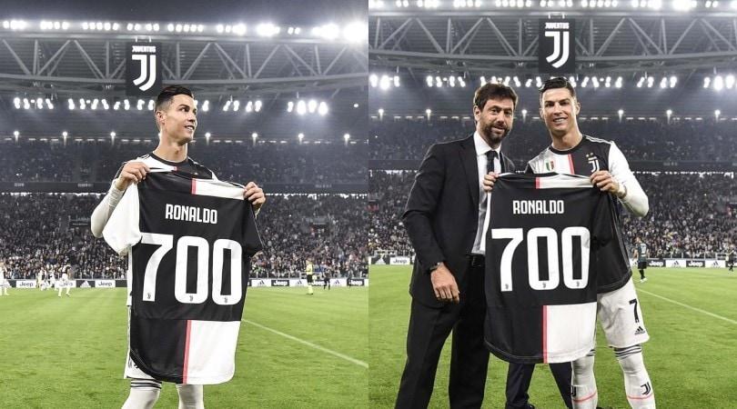 Juve, Agnelli abbraccia Cristiano Ronaldo: maglia speciale per i 700 gol
