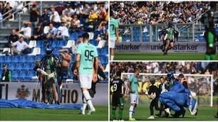 """Sassuolo-Inter, """"l'invasione di campo"""" di un paracadutista"""