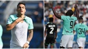 Sassuolo-Inter, festa del gol. Decidono Lautaro e Lukaku