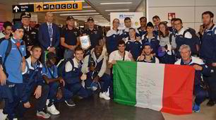 Global Games, gli azzurri rientrano in Italia: che festa a Fiumicino!